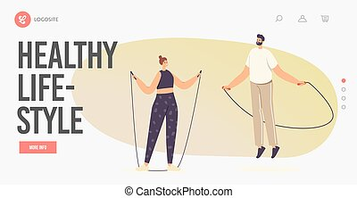 Healthy Lifestyle Landing Page Template. People in Sportswear Exercising with Jump Rope. Sports Recreation, Weight Loss