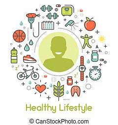 Healthy Lifestyle Line Art Thin Vector Icons Set with Sport Elements