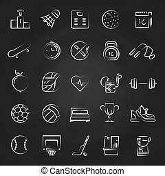 Healthy lifestyle line icons on chalkboard