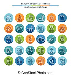 Healthy lifestyle long shadow icons