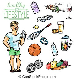 Healthy Lifestyle - Man - Hand drawn vector collection of...