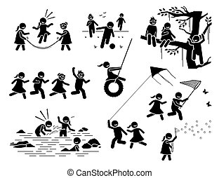 Healthy lifestyle of active children playing outside stick figures icons.