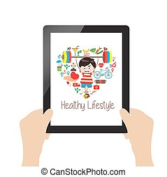 healthy lifestyle online on tablet.