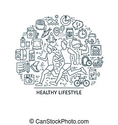 Healthy lifestyle outline banner3