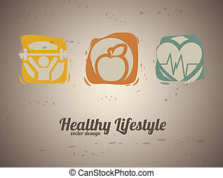 healthy lifestyle over vintage background vector illustration