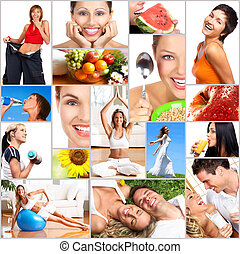 Healthy lifestyle. People, diet, healthy nutrition, fruits, fitness