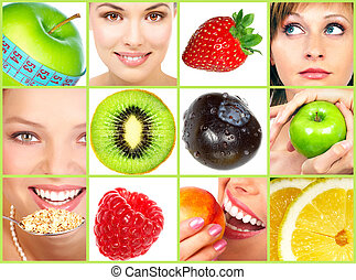 Healthy lifestyle. People, diet, healthy nutrition, fruits