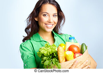Healthy lifestyle - Portrait of pretty girl with big paper ...