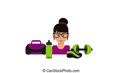 healthy lifestyle related - beautiful woman in glasses with ...