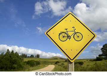 Healthy lifestyle ride a bike in nature road sign