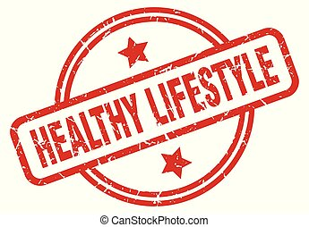 healthy lifestyle round grunge isolated stamp