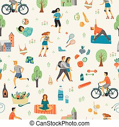 Healthy lifestyle. Seamless pattern.