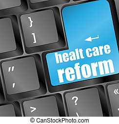 healthy lifestyle shown by health care reform computer button