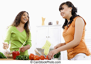 Healthy Lifestyle - Stock image of two young women in...