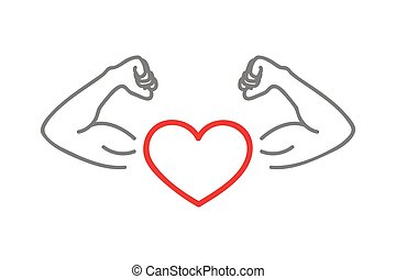 healthy lifestyle strong heart with muscular arms