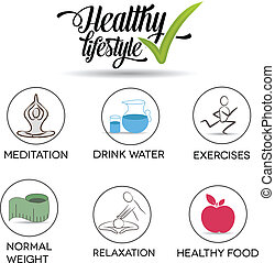 Healthy lifestyle symbol collection. Healthy food, exercises, normal weight, drinking water, relaxation and meditation. Isolated on a white background.