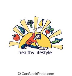 Healthy lifestyle symbol, excellent vector illustration, EPS...
