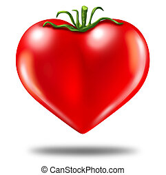 Healthy lifestyle symbol represented by a red tomato in the ...