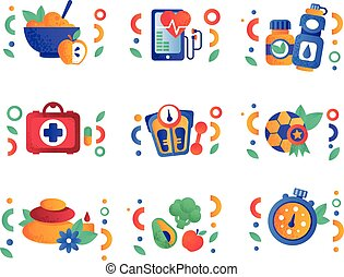 Healthy lifestyle symbols set, physical activity, sport, fitness, vegan food design elements vector Illustrations on a white background
