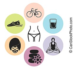 Healthy lifestyle vector icons