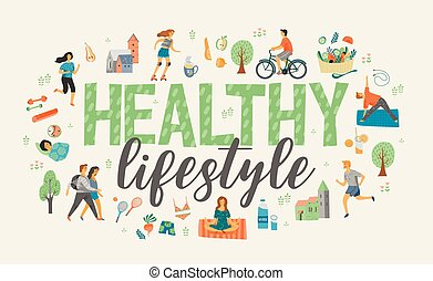 Healthy lifestyle. Vector illustration.