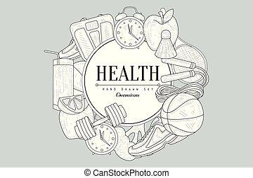 Healthy Lifestyle Vintage Sketch