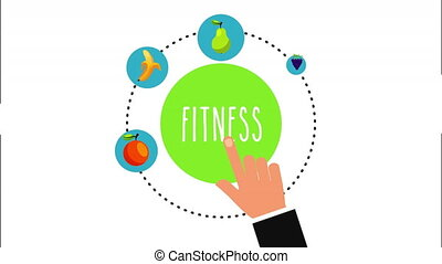 healthy lifestyle with set icons animation , 4k video...