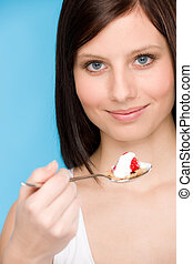 Healthy lifestyle - woman eat cereal yogurt - Healthy...
