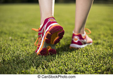 Healthy lifestyle, Woman fitness and Runner feet running