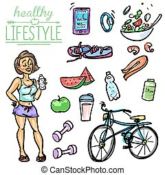 Healthy Lifestyle - Woman - Hand drawn vector collection of...