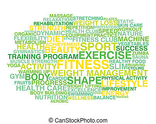 Healthy lifestyle. Word cloud conce - Fitness, exercise,...