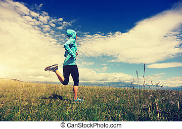 healthy lifestyle young fitness woman runner running on...