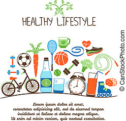 Healthy lifestyles vector concept. Proper nutrition and sports equipment on white background