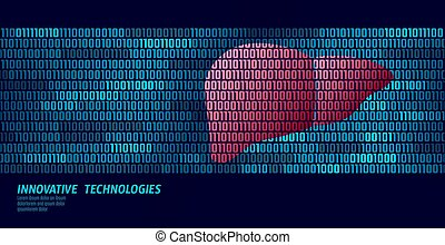 Healthy liver detoxification internal organs. Binary code data flow. Doctor online innovative technology vector illustration