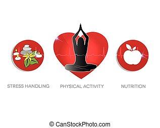 Healthy living advice symbols.
