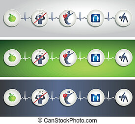 Healthy living concept symbol banners. Healthy food, fitness...