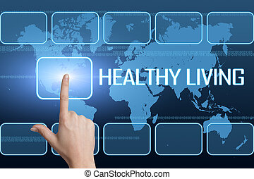 Healthy Living concept with interface and world map on blue background