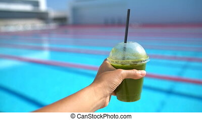 Healthy Living Diet Detox Juice and Swimmer Woman by Sports ...