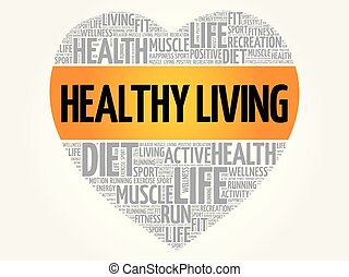 Healthy Living heart word cloud, fitness