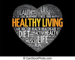 Healthy Living heart word cloud, fitness, sport