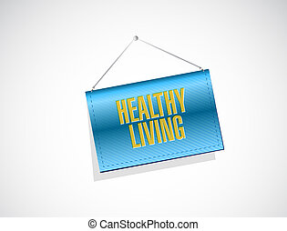 healthy living holding sign concept