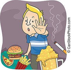 Healthy Living - Illustration Featuring a Man Saying No to...