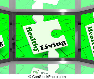 Healthy Living On Screen Showing Weight Loss Shows
