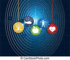 Healthy living round symbols