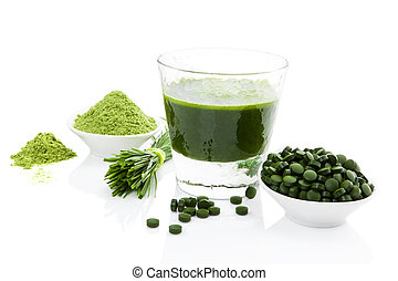 Healthy living. Spirulina, chlorella and wheatgrass. - Green...