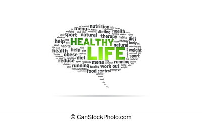 Healthy Living - Spinning Healthy Living Speech Bubble