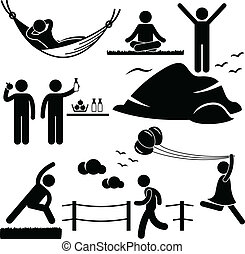 A set of stick figure people pictograms representing healthy lifestyle activities.