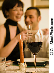 dining out - healthy living: young couple in love dining out...