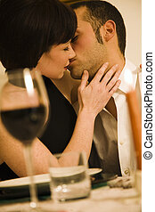 dining out - healthy living: young couple in love dining out