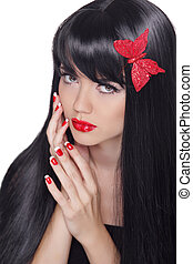 Healthy Long Black Hair. Beautiful gorgeous woman with glamour